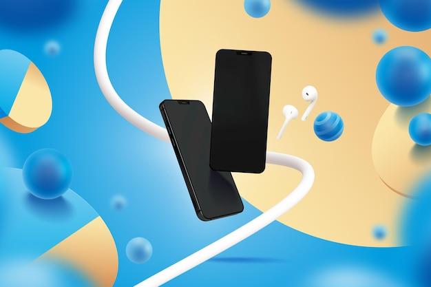 Modelo de exibição com smartphones