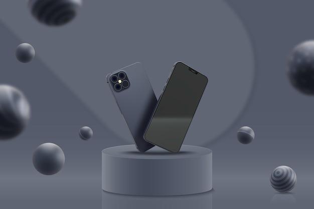 Modelo de exibição com telefones celulares
