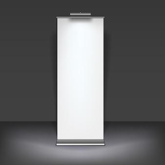 Modelo de exibição de banner de enrolamento em branco para designers