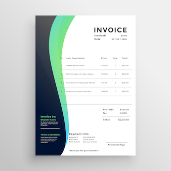 Modelo de factura moderna em estilo ondulado