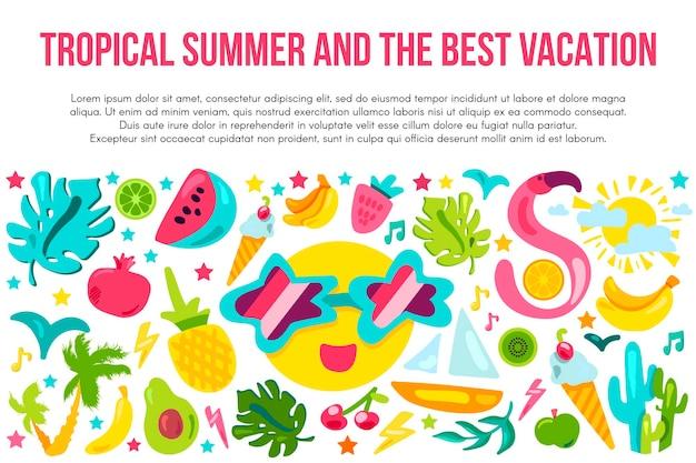 Modelo de faixa plana de férias de verão. cartaz de verão tropical com espaço de texto. ícones dos desenhos animados do resort