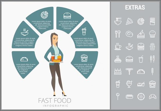 Modelo de fast-food infográfico e conjunto de ícones