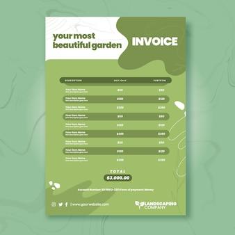 Modelo de fatura comercial de jardinagem