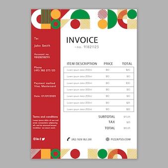 Modelo de fatura de restaurante de pizza