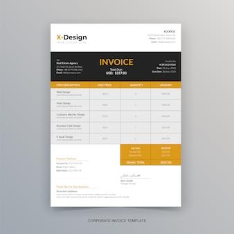 Modelo de fatura profissional de negócios