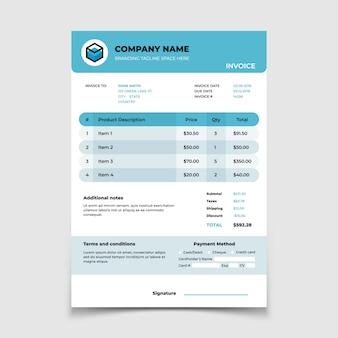 Modelo de fatura. projeto de documento de contabilidade de formulário de faturamento