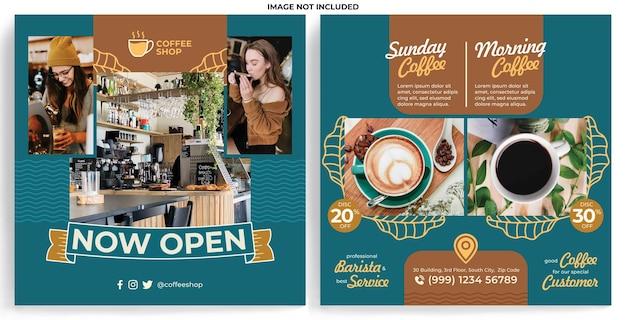 Modelo de feed de promoção de cafeteria no instagram em estilo de design moderno