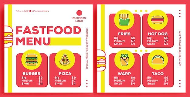 Modelo de feed de promoção de restaurante no instagram em estilo de design moderno