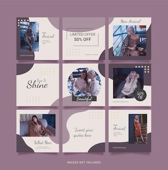 Modelo de feed de quebra-cabeça de moda feminina para mídia social