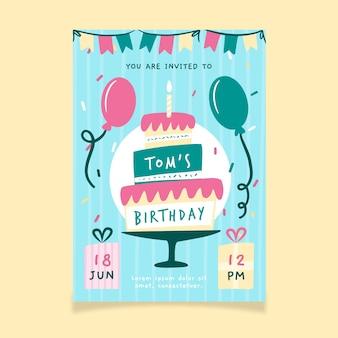 Modelo de feliz aniversário com bolo