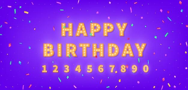 Modelo de feliz aniversário com texto de letreiro dourado e confetes coloridos. saudação de feliz aniversário de lâmpada.