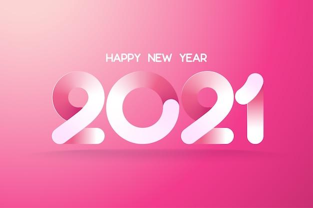 Modelo de feliz ano novo 2021. projeto de texto de papel gradiente rosa lindo.