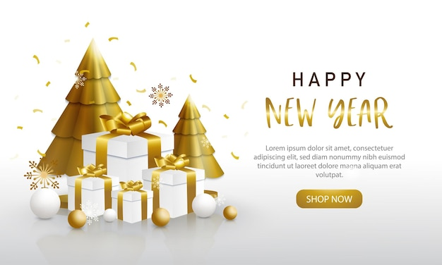 Modelo de feliz ano novo, enfeites dourados e brancos com árvores de natal e caixas de presentes