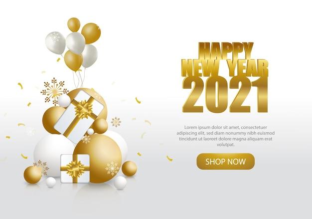 Modelo de feliz ano novo, enfeites dourados e brancos com balões e caixas de presentes