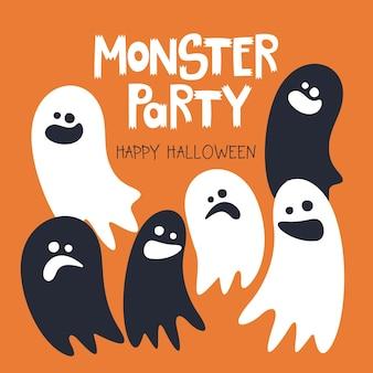 Modelo de feliz dia das bruxas com a inscrição escrita à mão monster party