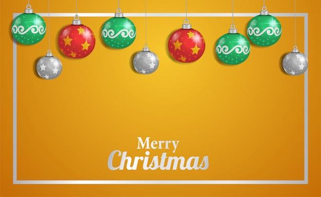 Modelo de feliz natal com espaço em branco e decoração