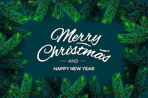 Modelo de feliz natal e feliz ano novo com imagem vetorial moldura de galhos de árvore de natal