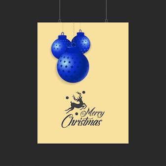 Modelo de feliz natal renas e bolas azuis