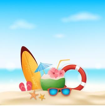 Modelo de férias de verão com acessórios de praia verão.