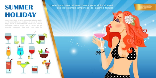 Modelo de férias de verão plana com linda mulher tomando um coquetel na paisagem do mar e ilustração de conjunto de bebidas alcoólicas