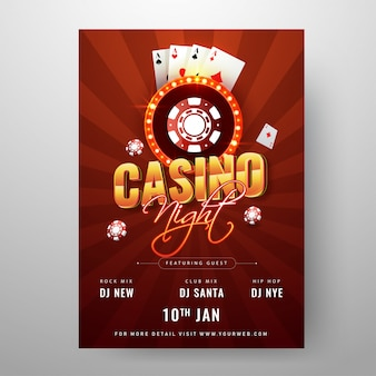 Modelo de festa de noite de casino ou flyer design decorado com poker