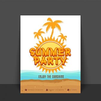 Modelo de festa de verão, design de bandeira ou folheto com ilustração de palmeiras e ondas do mar.