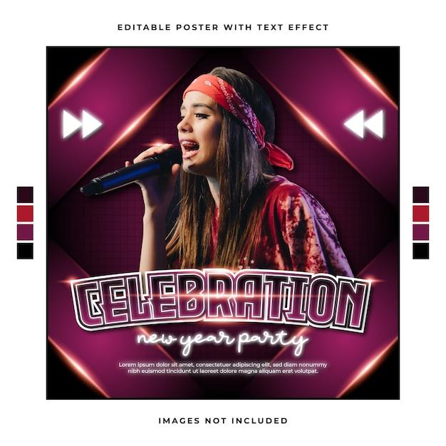 Modelo de festa musical de comemoração de ano novo com efeito de texto editável