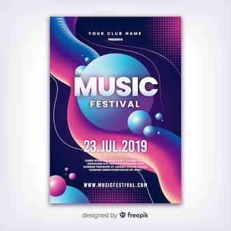 Modelo de festival de música abstrata com efeito líquido