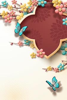 Modelo de festival de primavera com flores coloridas de ameixa e borboletas