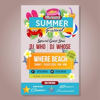 Modelo de festival de verão poster com jogo de praia