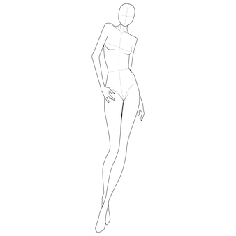Tee Shirt Dress Fashion Modelo De Desenho Plano Vetor Premium