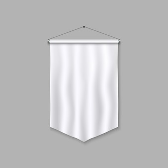 Modelo de flâmula realista. bandeira 3d em branco.