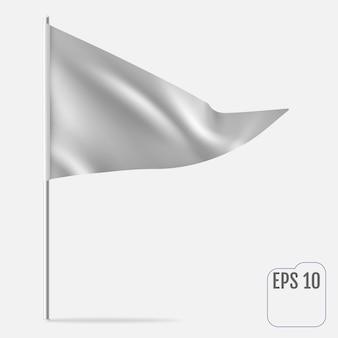 Modelo de flâmula realista. bandeira triangular