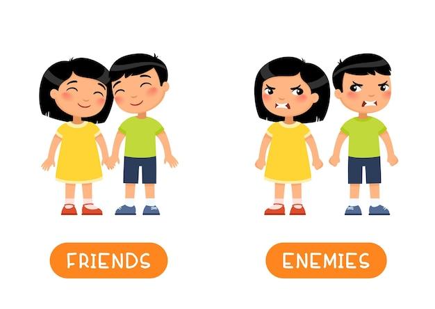 Modelo de flashcard de antônimos de amigos e inimigos.