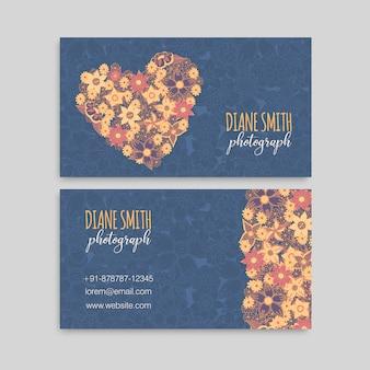 Modelo de flor azul cartões de visita