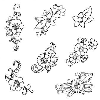 Modelo de flor de tatuagem de henna. estilo mehndi. conjunto de padrões ornamentais em estilo oriental.