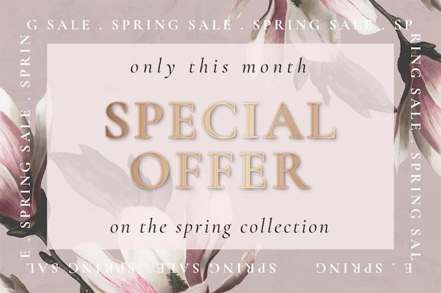 Modelo de flor editável para venda de primavera