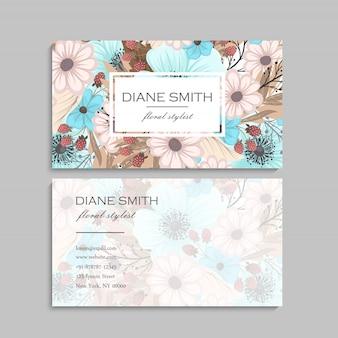 Modelo de flores de cartão de visita