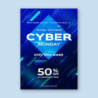Modelo de flyer de cyber monday com efeito de falha