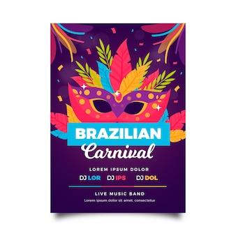 Modelo de flyer para carnaval brasileiro em design plano