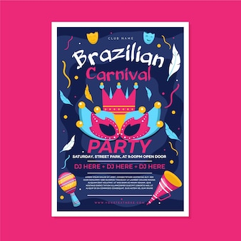 Modelo de flyer para carnaval brasileiro