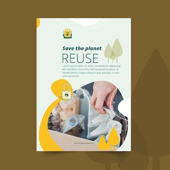 Modelo de flyer para salvar o planeta e reutilizar o ambiente