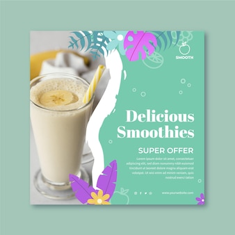 Modelo de flyer quadrado de barra de smoothies