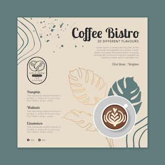 Modelo de flyer quadrado de café bistrô