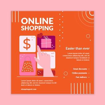 Modelo de flyer quadrado de compras online