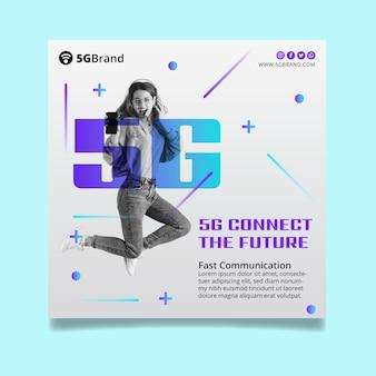 Modelo de flyer quadrado de conexão 5g
