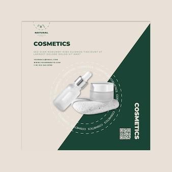 Modelo de flyer quadrado de cosméticos