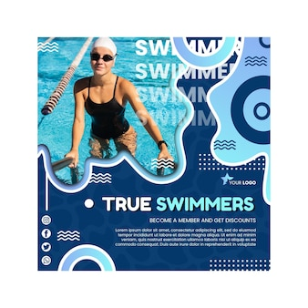 Modelo de flyer quadrado de natação