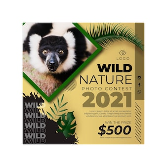 Modelo de flyer quadrado de natureza selvagem