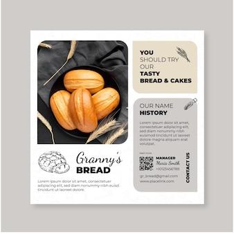 Modelo de flyer quadrado de pão com foto